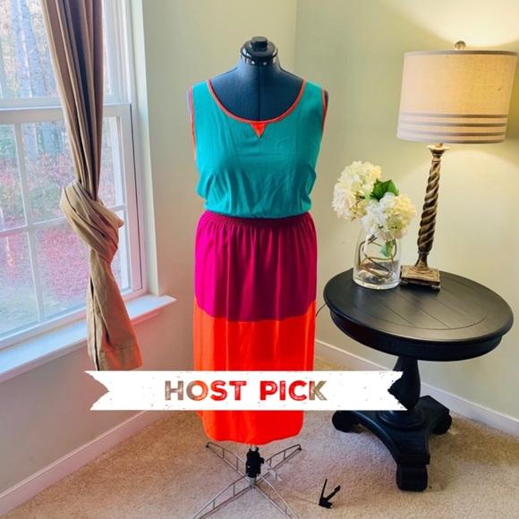 Allen B. By Allen Schwartz Dresses & Skirts - Allen B Sleeveless Colorblock Midi Dress Size 16